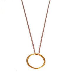 Damen Halskette in Gold-Töne, bicolor. Lange Kette mit Kreisanhänger.