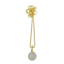 Kurze Halskette, Kugelkette mit Rosenquarz Anhänger rund