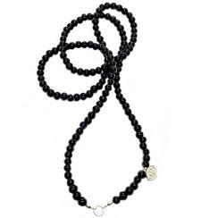 Lange Perlenkette schwarz, Kette, Operakette, lange einreihige Perlenkette mit gleichgroßen Perlen gefädelt ohne Verschluss