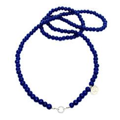 80 cm lange blaue Glasperlen Kette zum einhängen von Charms, veränder Deinen Schmuck einfach selbst mit dieser Kette