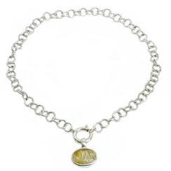 hochwertiges 925 Silbercollier mit facettiertem ovalem Rutilquarzsteinanhänger
