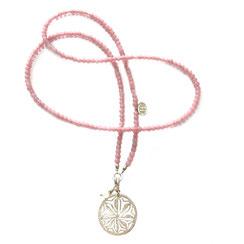 rosa lange Perlenkette aus Glasperlen mit Silbermandala, 925 Silber Mandalakette