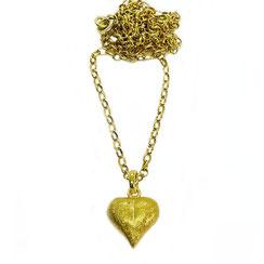 Freundinkette lange Kette mit Herz, 80 cm lange ÖSENKETTE mit Herzanhänger, gelbgold