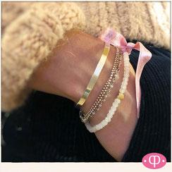modisch Armbänder aus Silber und Rosenquarzperlen