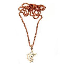 Kette, Silber vergoldet, Halskette zur Kommunion oder Konfirmation mit Tau