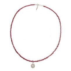 Halskette, Edelsteinkette, rote Grantsteinkette mit spirituellen Chakra Symbol Anhänger Yoga 925er Silber