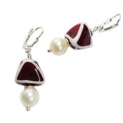"""handgefertigte Glasperlen hängende Ohrringe,  """"rotes Dreieck"""""""