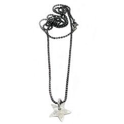 Modische lange, feine schwarze Kugel Halskette mit kleinem fünfeck Sternanhänger, 925 Silber.