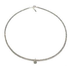 handgefertigte feine Steinkette, Labradoritsteinkette mit modernem Kreisanhänger.