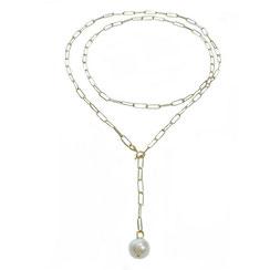 modische lange Halskette, Lassokette mit Perle aus 925 Silber gelbgold vergodet