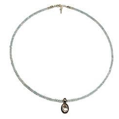 Halskette Kette mit Edelsteinen, Edelsteinekette, Steinkette, Aquamarin, Aquamarinkette mit Begkristallanhänger