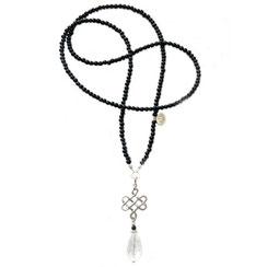 HANDmade, handgefertigter Schmuck aus Stuttgart, Lange Perlenkette, Halskette mit Symbolanhänger 'keltischer Knoten' Knotenanhänger, ein 925er Silber Anhänger in Form eines geflochten flachen Liebesknoten ein Zeichen für endlose Liebe.