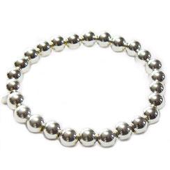 """Dickes 925 Silber Armband Damen. Kugelarmband aus  Ø 7 großen """"dicken"""" Kugeln. Kugelarmband silber auf einem dehnbaren, elastischen Gummiband aufgefädelt, 18-20 cm ."""