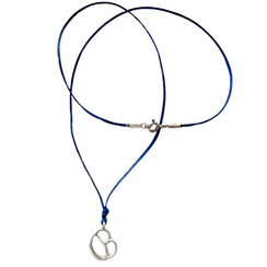 Halskette Stoff, Stoffband, Stoffkette mit Brezelanhänger, 925 Silber