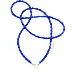 lange ultramarin blaue Kette, Glasperlenkette, XL-Kette für Charms, Schmuckanhänger