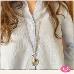 Perlenkette lang, 80 cm mit großer Silber Münze, Halskette mit Silber XL Münze, 925 Silber Achatperlen