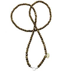 Halskette, Kette, Operakette, lange Glas- Perlenkette ohne Verschluss, gold