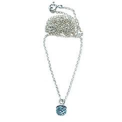 Aquamarin Halskette, Silberkette mit Stein, Kette mit kleinem Aquamarin blau