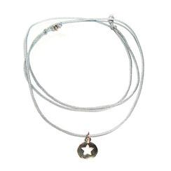 Halskette mit Anhänger Fünfeckstern aus Silber, Kette aus Stoffband mit Stern Anhänger aus 925er Silber längenverstellbar mit Schiebeverschluss