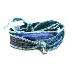 "Armband ""Boho"" Bohemian Modestyles. Hochwertiges Stoffarmband aus gecrashter Seide und Buddhaanhänger aus 925 Silber."