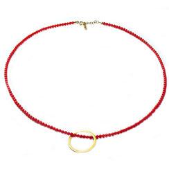 handgefertigte Kette Collier aus roten Korallenperlen, Korallen. 925 Silber gelbgold vergoldeter modischer Kreisanhänger.