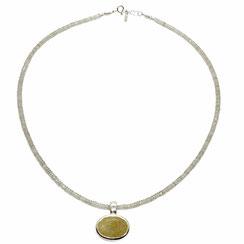 Edelstein Kette handgefertigt, gelb-braun-ocker Rutilquarzstein oval, 925 Silber, Goldschmiedearbeit