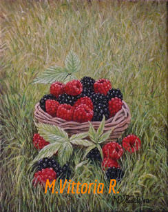 blackberries and raspberries, oil on canvas cm 24x30, 2010- private collection