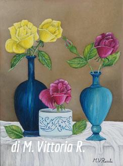 varieta' di rose, olio su tela cm 30x40