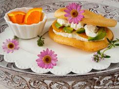 Cloud Bread mit Quark, Orangen und Avocado