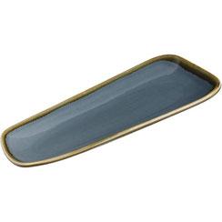 Flache rechteckige Teller mit abgerundetem Rand aus Porzellan Olympia Kiln. In verschiedenen Größen und Farben erhältlich.