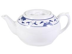 Teekanne mit flachem Deckel aus hochwertigem Porzellan aus Taiwan und China der Marken Tatung, Li, Cameo und Datung. In verschiedenen Größen und Motiven erhältlich.
