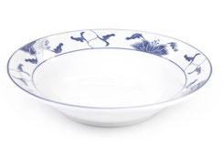Tiefe runde Essteller mit abgerundetem Rand aus Porzellan mit blauem Lotus Motiv der Marken Tatung, Li, Cameo und Datung. In verschiedenen Größen und Motiven erhältlich.