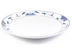 Flache runde Essteller mit abgerundetem Rand aus Porzellan mit blauem Lotus Motiv der Marken Tatung, Li, Cameo und Datung. In verschiedenen Größen und Motiven erhältlich.