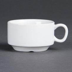Espresso Tasse und Untertasse aus weißem Olympia Porzellan. Ideal für die hohen Ansprüche in der Gastronomie.