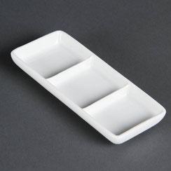 Präsentierschale mit 3 Fächern aus weißem Olympia Porzellan. Ideal für die hohen Ansprüche in der Gastronomie.