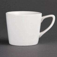 Kassee Tasse und Untertasse aus weißem Olympia Porzellan. Ideal für die hohen Ansprüche in der Gastronomie.