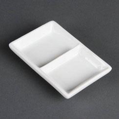 Präsentierschale mit 2 Fächern aus weißem Olympia Porzellan. Ideal für die hohen Ansprüche in der Gastronomie.