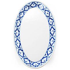 Thai Ovalteller mit thailändischem blau-weiß Blumen-Motiv. Erhältlich in verschiedenen Größen.
