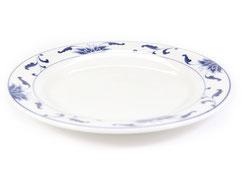 Flache runde Essteller mit abgeflachtem Rand aus Porzellan mit blauem Lotus Motiv der Marken Tatung, Li, Cameo und Datung. In verschiedenen Größen und Motiven erhältlich.