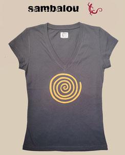 T-shirt Sambalou , Collection 100% coton biologique  colelction femme spirale