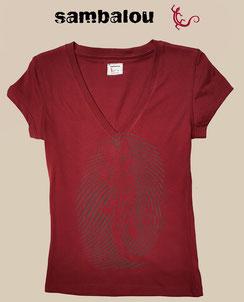 Sambalou 100% coton biologique 200 % couleur,  livraison gratuite  t-shirt collection femme emprunte salamandre face red