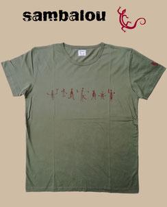 "Sambalou T-shirt 100% coton biologique / article : T-shirt ""Petit bonhomme"" green"