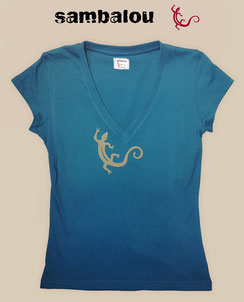 Sambalou T-shirt 100% coton biologique collection femme salamandre blue