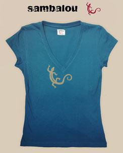 Sambalou T-shirt 100% coton biologique collection femme salamandre blue