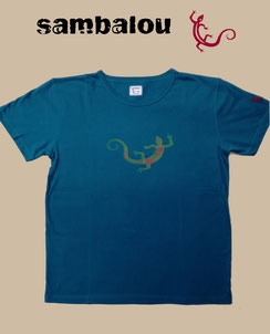 "Sambalou T-shirt 100% coton biologique / article : T-shirt ""Salamandre 2 colors"""" blue"