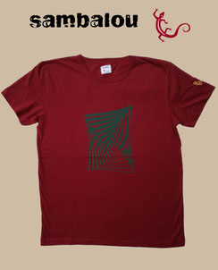 "Sambalou T-shirt 100% coton biologique / article : T-shirt ""Spiralsquar"" red"