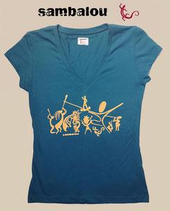 Sambalou 100% coton biologique 200 % couleur,  livraison gratuite  t-shirt collection femme sambadance bleu