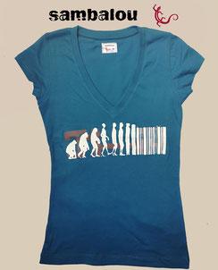 Sambalou 100% coton biologique 200 % couleur,  livraison gratuite  t-shirt collection femme evolution bleu