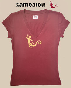 Sambalou T-shirt 100% coton biologique collection femme salamandre red