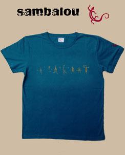 """Sambalou T-shirt 100% coton biologique / article : T-shirt """"petit bonhomme"""" blue"""